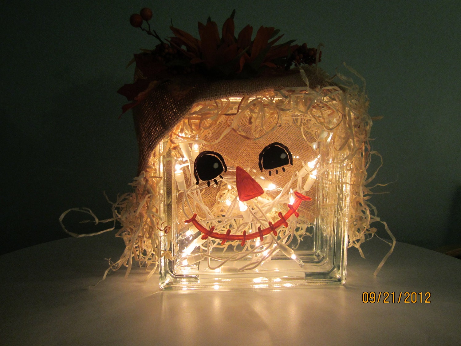 Glass Block Scarecrow Fall Decoration By Ritzywreaths On Etsy