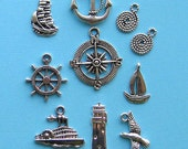 Nautical Charm Collection Antique  Silver Tone 10 Charms - COL034