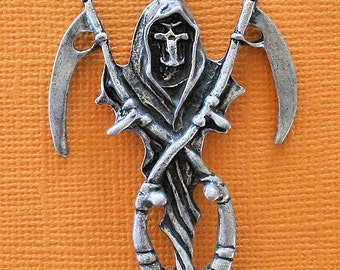 Grim Reaper Charm Antique  Silver Tone Really Detailed - SC1369