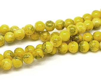15 Mottled Glass Beads 10mm - Canary Yellow with Veins of Midnight Black - BD045