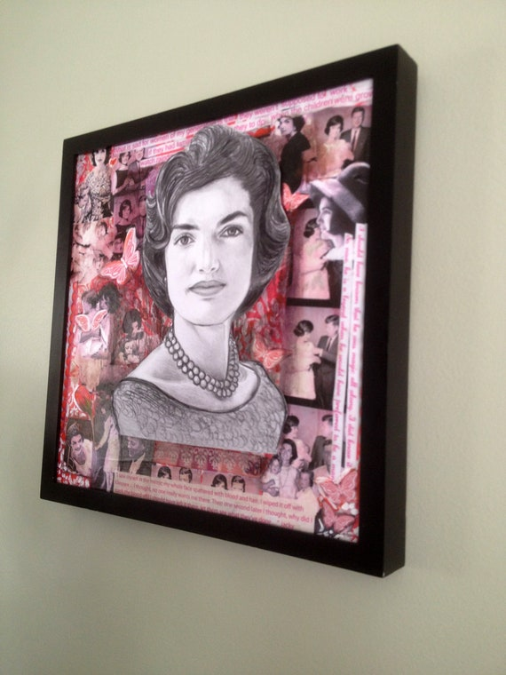 Jackie O Kennedy Drawing on Collage