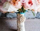 Wedding Bouquet I DO Charm with Colored Crystal.  Perfect jewelry to add to your Wedding Bouquet or Boutonniere