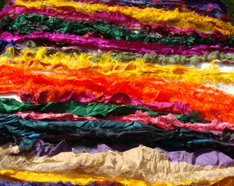 Wide Lightweight Sari Pieces Loose Multiple Colors Very Fancy Good For Many Crafts 2 Ounces