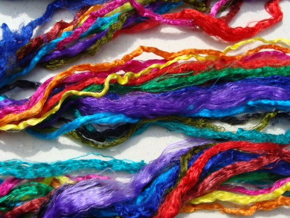 Glorious and Super Fun Hand Dyed Jewel Colored Mulberry Silk Strings