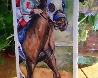 Race horse painting in watercolor on paper, Finish Line