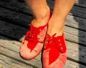 Hand dyed RED canvas shoes/stylish/trendy/handcrafted/comfortable shoes/summer oxfords