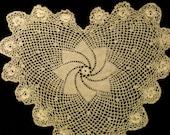 Doily, heart shape, crocheted