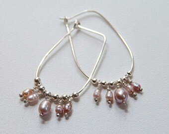 Pink Pearl Wire Earrings