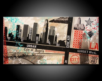 Los Angeles MADE TO ORDER Painting Acrylic 48x24 Canvas Modern Red Black & Teal Urban Abstract Fine Art by Federico Farias
