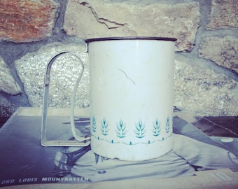 SALE Vintage Androck Flour Sifter, White and Blue, Country Farmhouse Kitchen, Made in USA