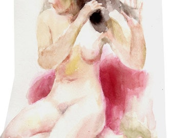 Original watercolor painting of the female nude-04, Holiday present / birthday present / art collection