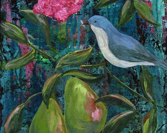 Gratefully Living Among Beauty print of mixed media acrylic painting