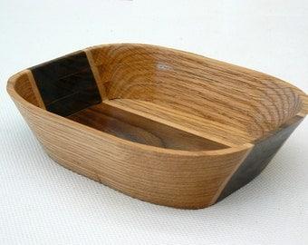 Striped Wood Bowl Candy Dish