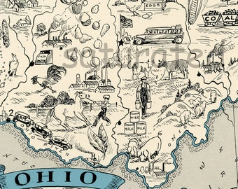 Ohio Map Vintage - Map Art - High Res DIGITAL IMAGE of a 1930s Vintage Picture Map - aqua turquoise -  Charming & Fun