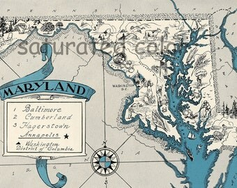 Maryland Map - Map Art - High Res DIGITAL IMAGE of a 1930s Vintage Picture Map - Aqua Turquoise Teal - Charming & Fun - Weddings Map