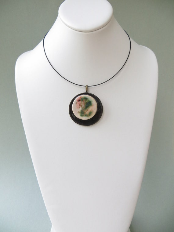 Contemporary Ceramic Pendant Black White Abstract Clay Pottery Necklace