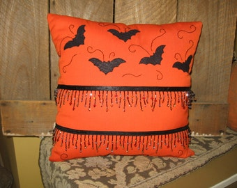 Sale Bats and Bling Orange Halloween Cotton Pillow