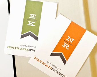Personalized Bookplates, Custom Bookplate Sticker // Father's Day Gift // MODERN  MONOGRAM // Gift Under 15