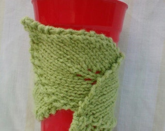 Green Leaf Coffee Cup Cozy