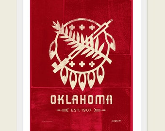 Pick Your Color, Oklahoma Poster - Osage shield