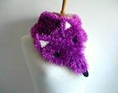 Happy Fox Scarf,  Three Dimension, Animal Costume, Faux Fur, fushia, Funny and Furry