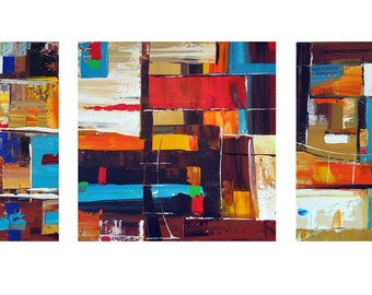 Original Acrylic Painting on Canvas  - Original  Abstract Painting  - Triptych art - Colourful art - Bright Painting - Happy Painting -