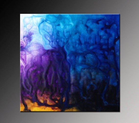 Items similar to original abstract painting acrylic canvas for Purple and yellow painting