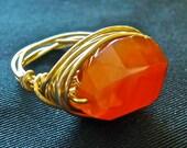 Candy Corn Orange Carnelian Ring, style number CAR1