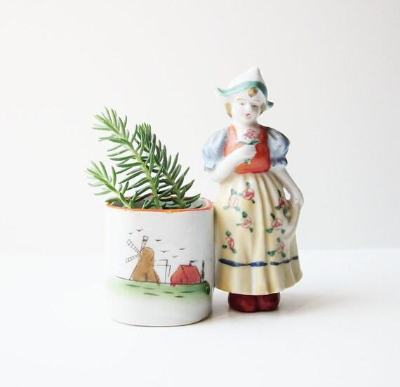 Mini Vase Planter Occupied Japan Doll Figurine Cigarette Or Toothpick Holder Dutch Woman 1940s Oddity