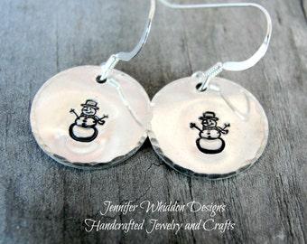 Snowmen Earrings - Christmas Earrings- Snowman - Holiday Earrings- Christmas Jewelry- Secret Santa