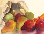 "Art  Print Contemporary Watercolor Painting Pears gold red green fruit 8"" X 6"" 'Pears in Brown Paper'"