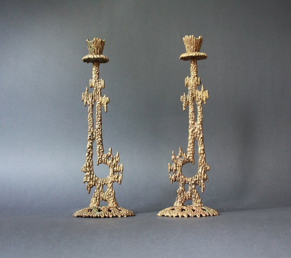 Mid Century Modern Brutalist Pair of Cast  Brass Candle Holders by Wainberg Israel