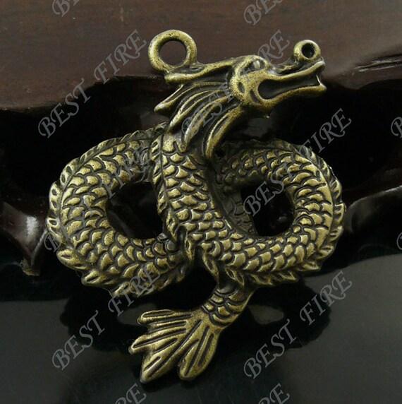 2PCS Of 39x45MM  Antique Bronze Dragon Charm Pendant, metal finding,pendant beads