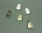 Halloween Charms RIP Headstone Charms Silver Plated Lot of 5