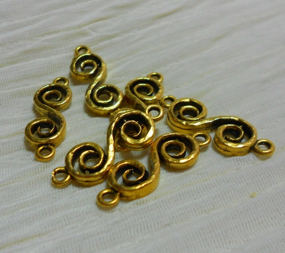 Antique Gold Curly S Connectors