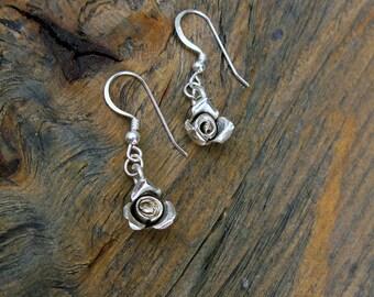 Silver rose earrings, silver earrings, rose earrings. petite earrings