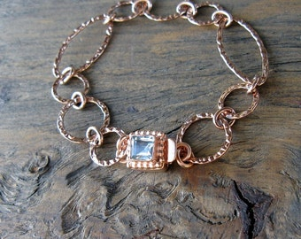 Rose gold bracelet, rose gold and blue topaz