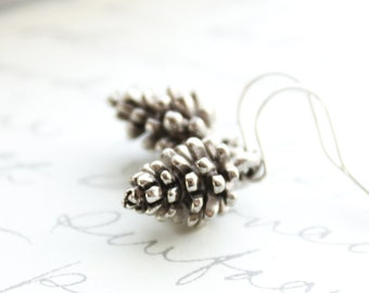Silver pinecone earrings, Pine Cone earrings, Rustic Nature Jewellery, Winter Woodland, Gift for Women, Small Drop Earring, Nickel Free