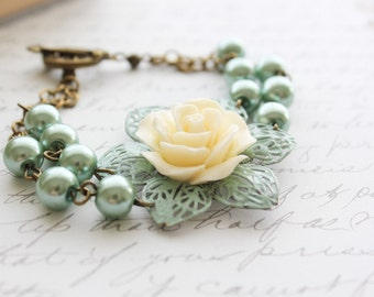 Rose Bracelet Aqua Pearl Bracelets Aqua Painted Patina Filigree Cream Rose Country Chic Bridal Jewelry Bridesmaids Maid of Honor Gift