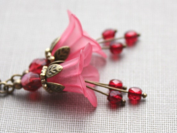 Fuchsia Flower Earrings Spring Jewellery Hot Pink Lucite Earrings Dangle Floral Drops Botanical Pixie Fairie Garden Cranberry red