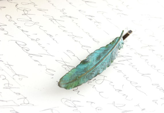 Feather Bobby Pin Verdigris Patina Nature Hair Accessories Teal Blue Turquoise Brass rustic woodland hair pins Garden Wedding Hair Slides