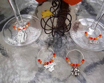 JUST REDUCED-Ghoulish Wine Charms