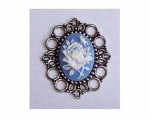 25x18mm cabochon setting Antique Silver 25x18 cameo Setting NO PIN on back (use to create necklaces pendants or brooch pins etc )   494x
