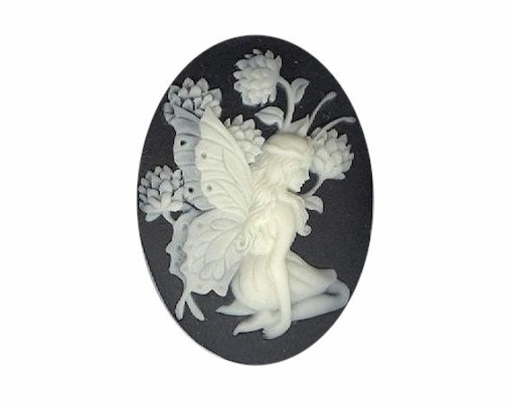 Fairy cameo Resin Cameo Black Ivory cabochon loose nymph cameo gothic lolita 40x30mm cameo jewelry supply 931q
