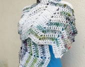 FAIRY Shawl - shades of green, blue, burgundy and white - OOAK