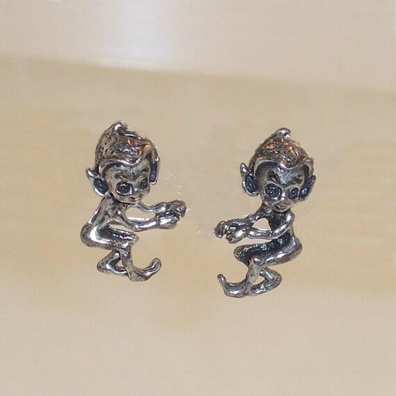 Vintage Sterling Earrings Pixie Kitchen 1960s Silver Elf