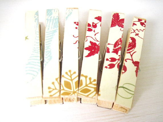 Stocking Clothespin Magnets, Christmas Magnets Vintage Inspired