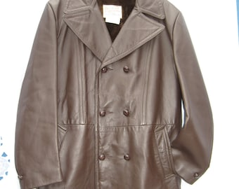Mens Winter Jacket/ 1970s ViNTaGe Mens Leather Jacket/ Fall /Brown Leather Jacket /Removable lining