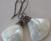 White Shell Fan Earrings,  Summer Earrings, Mother of Pearl, Wire Wrapped Seashell Earrings