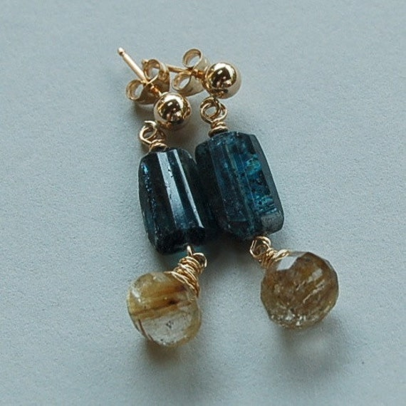 """Kyanite and Gold Rutilated Quartz Earrings RESERVE listing for """"S"""""""